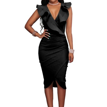 a4789356ded ... Sexy Sleeveless Deep V-neck Ruffled Bodycon Dresses Plus Size Business  Dress. Average rating 0out of5stars