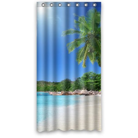 GreenDecor Beautiful Beach Waterproof Shower Curtain Set