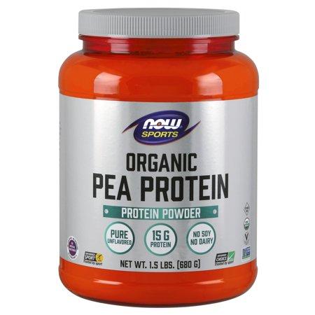 NOW Sports Nutrition, Organic Pea Protein Powder, Unflavored, 1.5-Pound ()