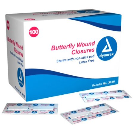 Dynarex Adhesive Bandage, Butterfly Fab, Large, 1/2 Inches X 2.75 Inches Sterile, 100 Count (Pack of 3)