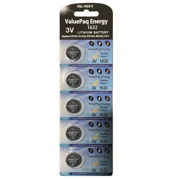 Dantona[r] Val-1632-5 Valuepaq Energy 1632 Lithium Coin Cell Batteries, 5 Pk