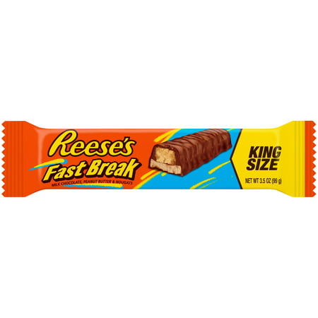 Reese's Fast Break, Milk Chocolate, Peanut Butter and Nougat, King Size Bar, 3.5 Oz