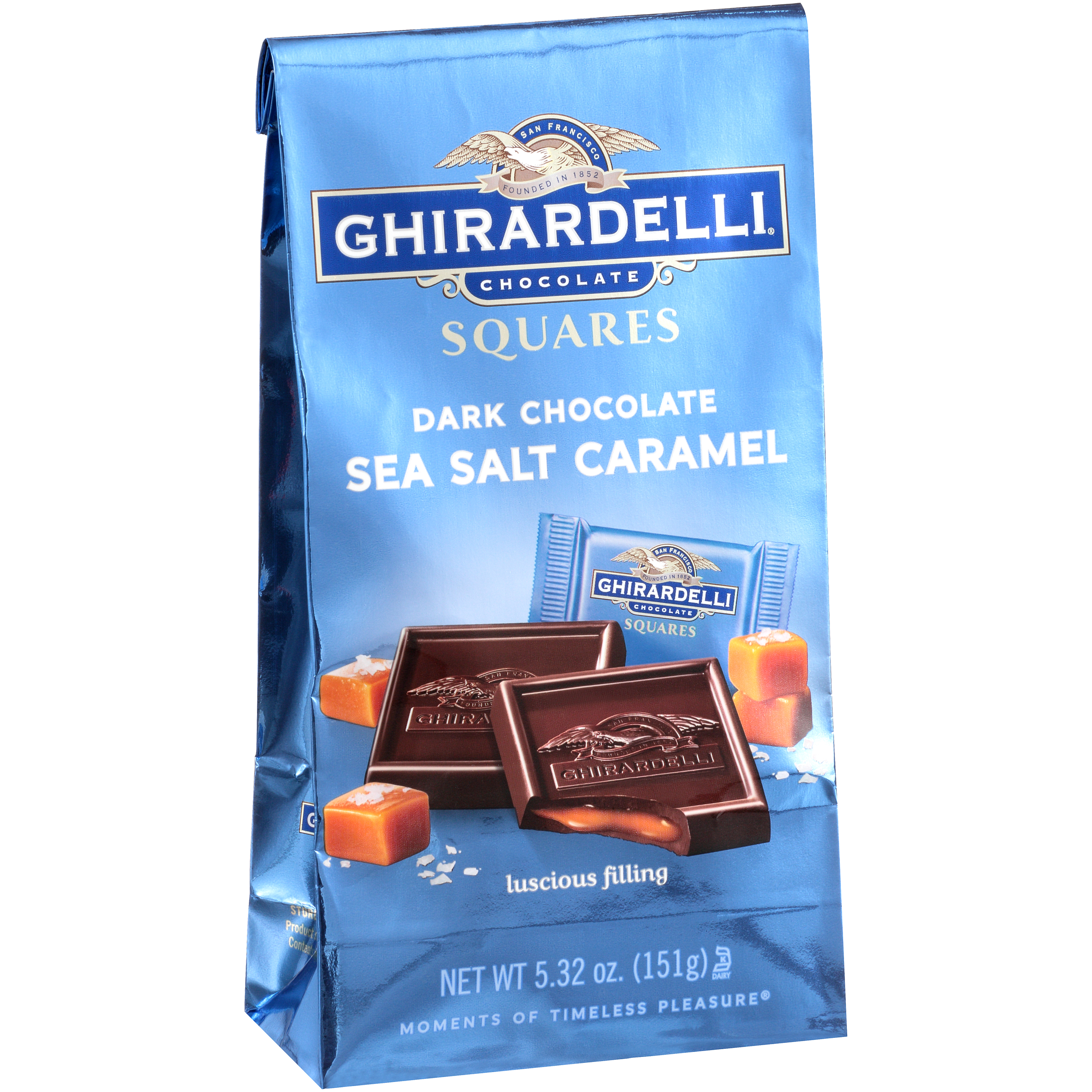 Ghirardelli Dark & Sea Salt Square Caramel Chocolate, 5.32
