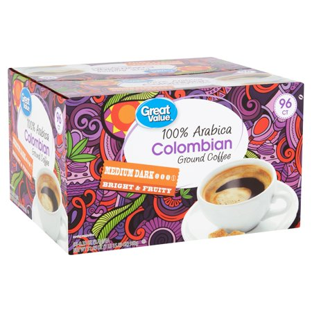 Great Value 100% Arabica Colombian Coffee Pods, Medium-Dark Roast, 96 Count