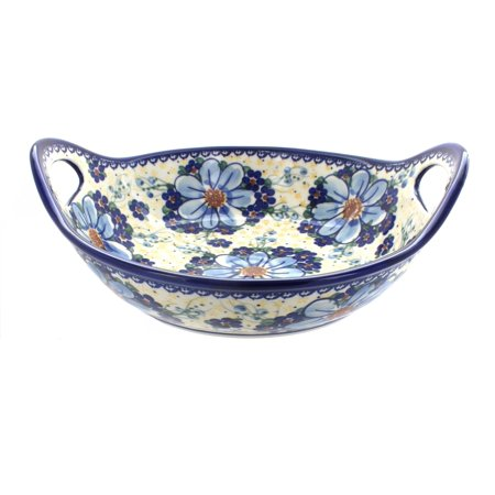 Polish Pottery Daisy Surprise Deep Bowl with Handles - Poetry Halloween