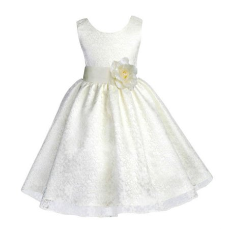21e992714 Ekidsbridal Ivory Lace Overlay Christmas Party Bridesmaid Recital Easter Holiday  Wedding Pageant Communion Princess Birthday Toddler