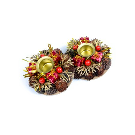 Holiday Candle Holders - Red Berries - set of 2