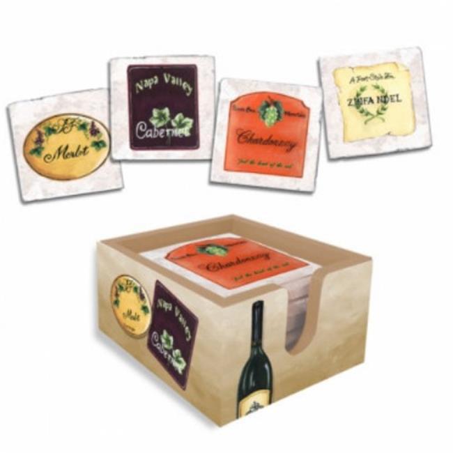 Lexington Studios 18013-C Wine Labels Coasters With Caddy by Lexington Studios
