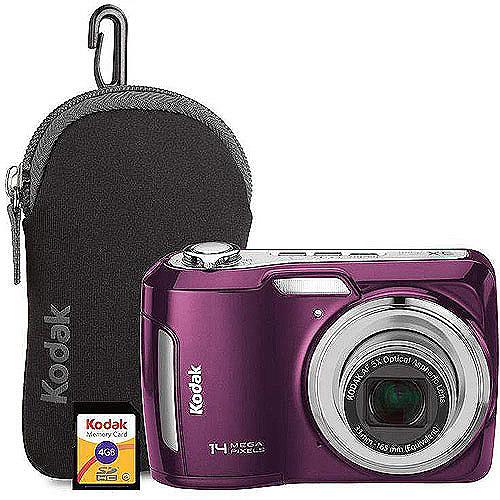 Kodak C195 Purple 14MP, 5X Optical Zoom, Digital Camera Bundle w/ Bonus Camera Bag and 4GB Kodak SD Card