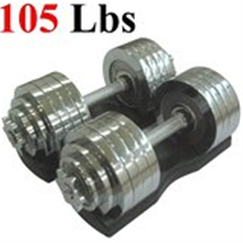 One Pair of Adjustable Dumbbells Chrome Plated Metal Tota...
