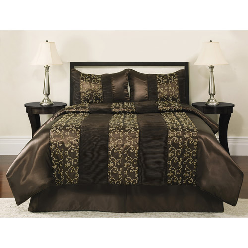 Better Homes and Gardens Comforter Set Collection, Brown Scroll