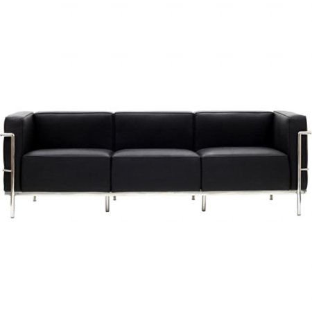 East End Imports EEI-567-BLK Le Corbusier LC3 Sofa in Genuine Black Leather