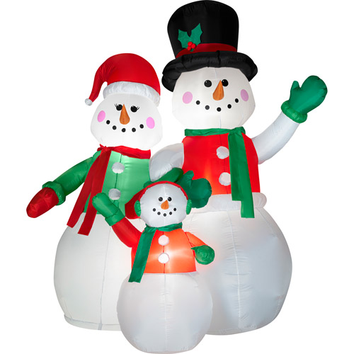 6.5' Tall x 5.5' Wide Airblown Snow Family Scene Christmas Inflatable