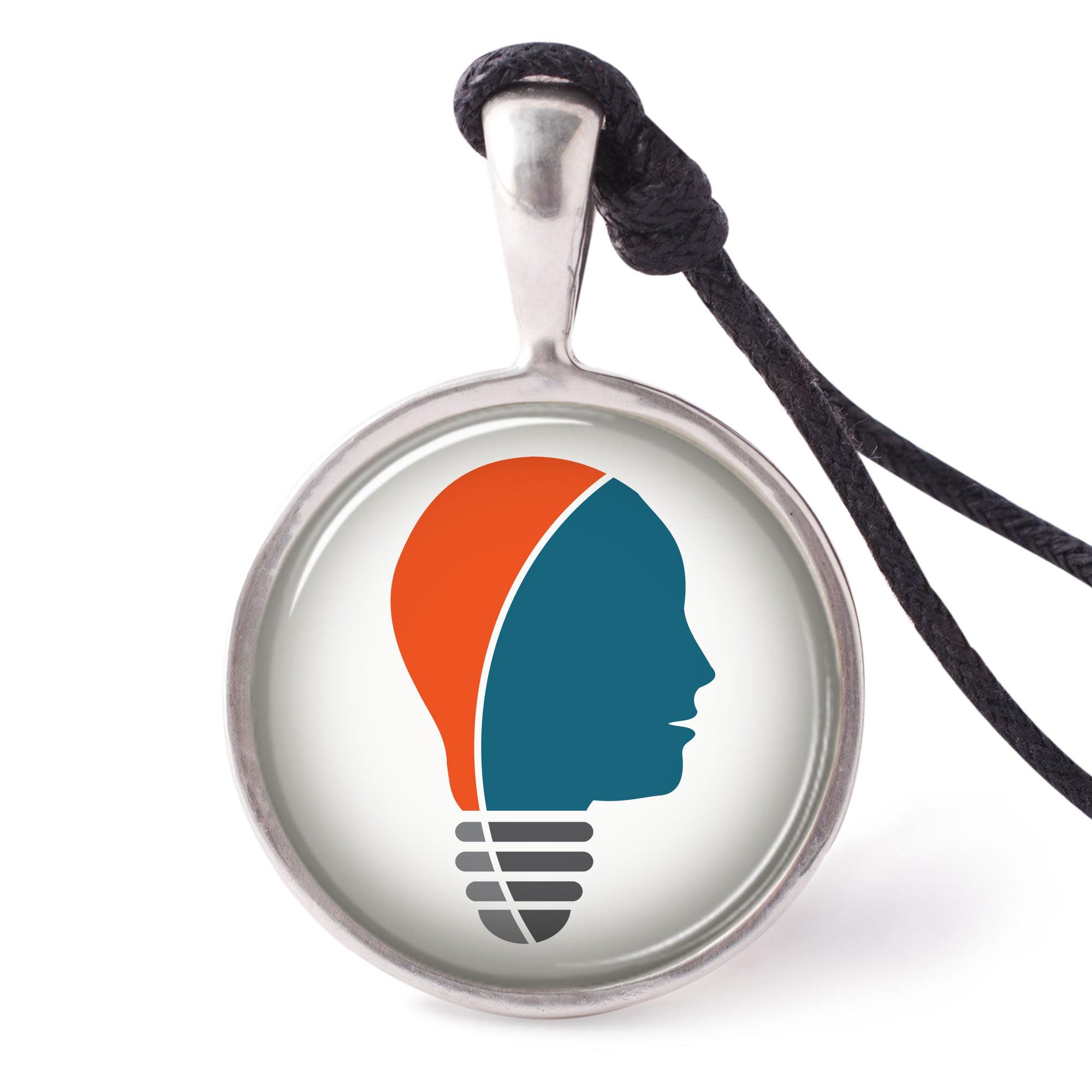 Vietguild's Business Bulb Icon Necklace Pendants Pewter Silver