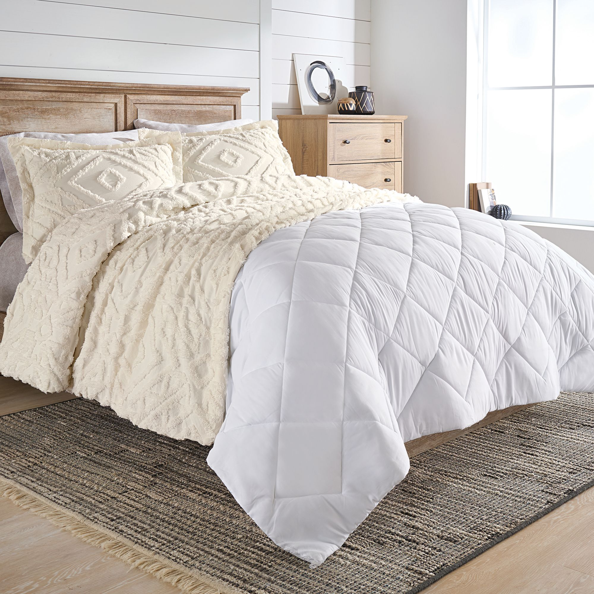 Better Homes And Gardens Chenille 3 Piece Duvet Cover Set Full Queen Ivory Walmart Com Walmart Com