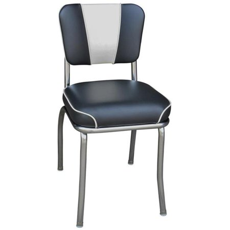 Richardson Seating Corp 4220BLKWF 4220 V -Back Diner Chair -Black-White- with 2 in. Waterfall Seat  - Chrome