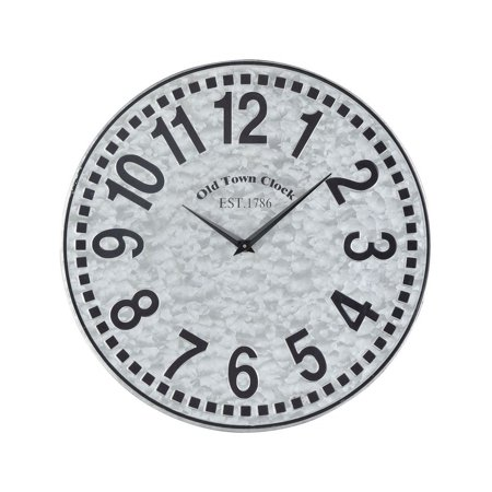 Old Town Clock Est 1786 With Numerical Numbering Round Wall Clock in Galvanized Steel Colors