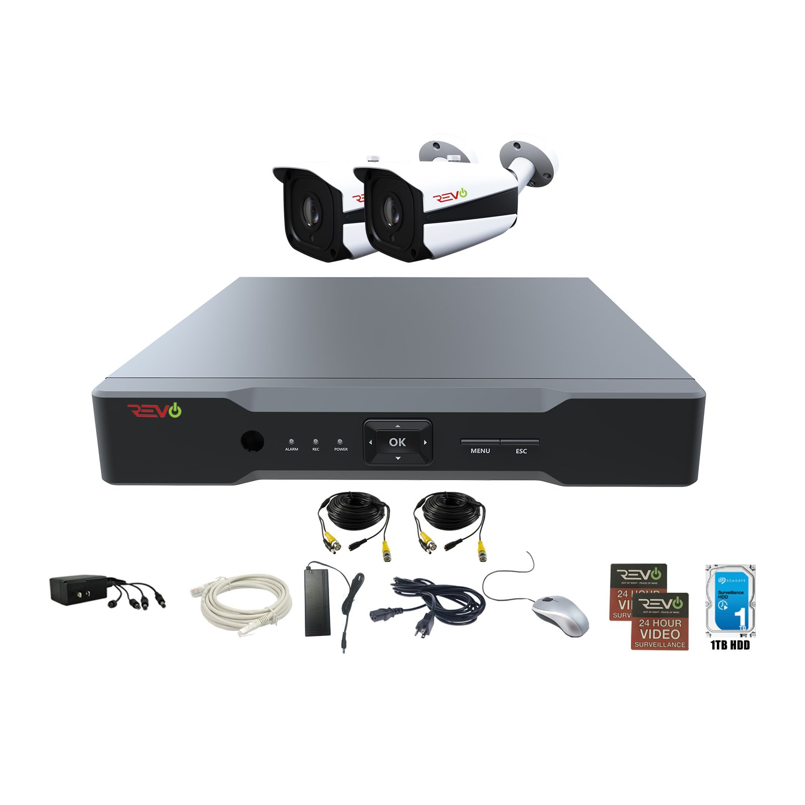RevoAmerica AeroHD 4 Ch. 5MP Video Security System with 2 Indoor/Outdoor Bullet Cameras