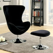 Furniture of America Kip Fabric Accent Chair with Ottoman in Black