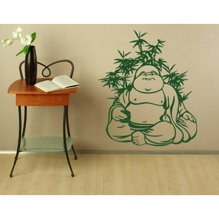 Quite Buddha Meditating Wall Decal   Buddhism Religion Wall Sticker  Vinyl Wall Art  Home Decor  Wall Mural   2665   Light Brown  47In X 56In