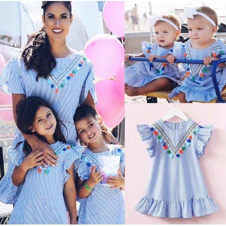 Casual Toddler Kids Girl Retro Striped Summer Dress Party Sundress Clothes - Girls Sun Dress
