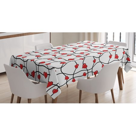 - Valentines Tablecloth, Geometric Themed Illustration with Lines and Hearts Romantic Valentines Day, Rectangular Table Cover for Dining Room Kitchen, 60 X 84 Inches, Red Black White, by Ambesonne