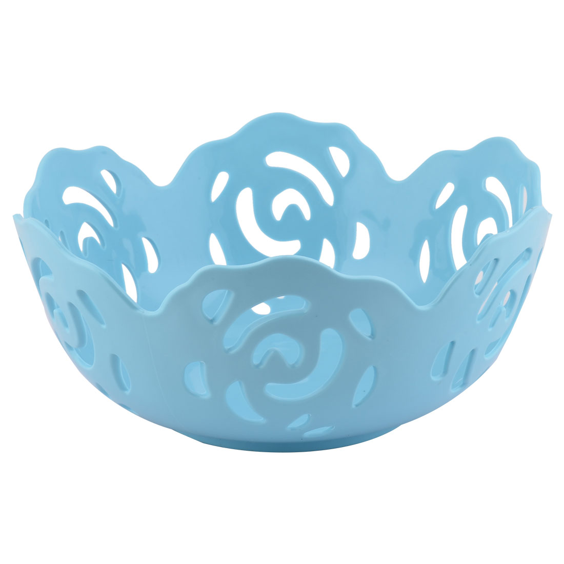 Kitchen Plastic Flower Shaped Hollow Out Multifunction Fruit Storage Basket Blue