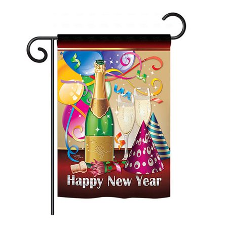 Breeze Decor Happy New Year 2-Sided Vertical Flag