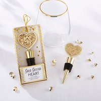Kate Aspen Gold Glitter Heart Bottle Stopper - Set of 6 - Guest Gift, Party Favor or Decorations for Weddings, Bridal Showers, Baby Showers & More