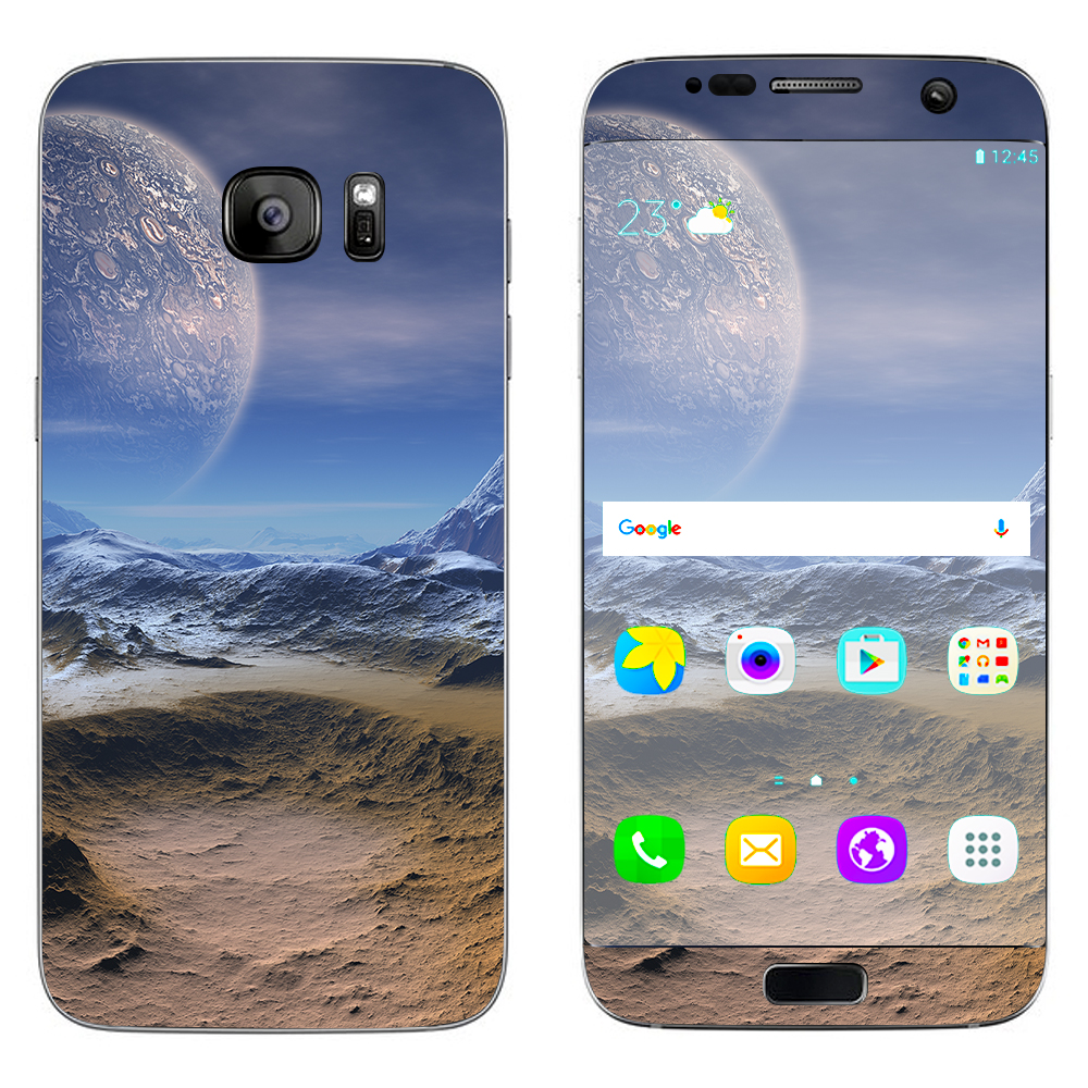 Skin Decal For Samsung Galaxy S7 Edge / Space Planet Moon Surface Outerspace
