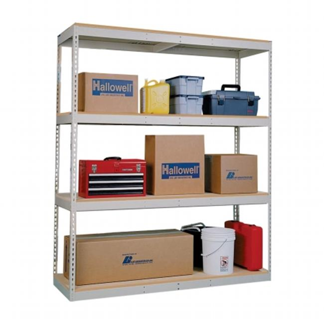 Hallowell DRCC722484-4A Rivetwell, Double Rivet Boltless Shelving with Center Support 72 in. W x 24 in. D x 84 in. H 729 Parchment 4 Levels