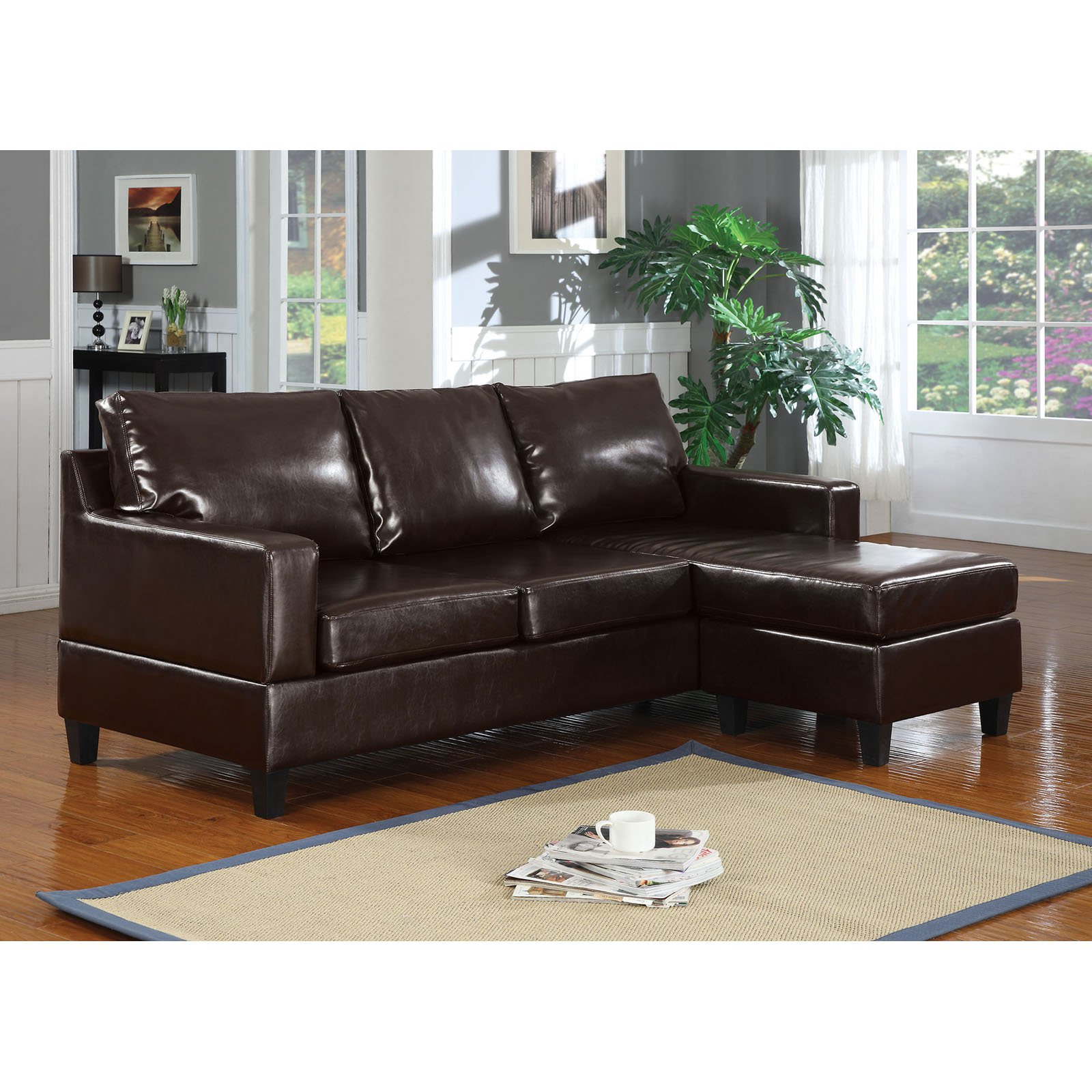 Acme Furniture Vogue Leather Sectional Sofa Walmart