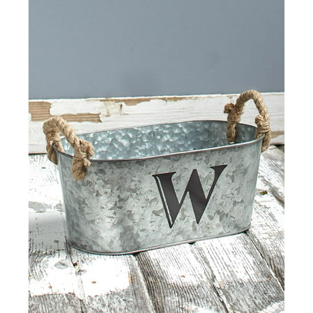 The Lakeside Collection Galvanized Monogram Bucket - W](Galvanized Bucket)
