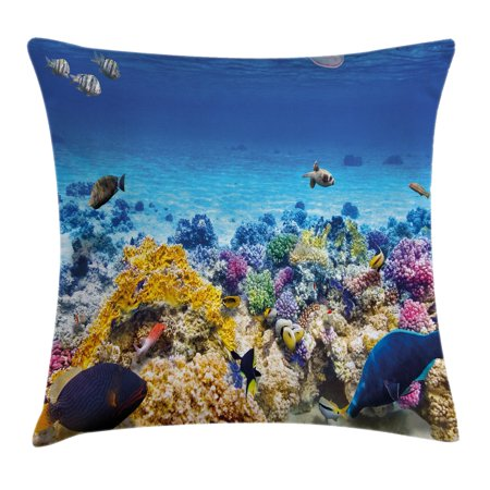 Ocean Decor Throw Pillow Cushion Cover, Underwater Sea World Scene with Goldfish Starfish Jellyfish Depth Diving Concept, Decorative Square Accent Pillow Case, 16 X 16 Inches, Turquoise, by Ambesonne