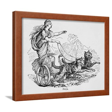 Freya Riding Chariot Driven by Cats Framed Print Wall Art