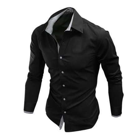 Unique bargains mens button closure point collar long for Unusual shirts for men