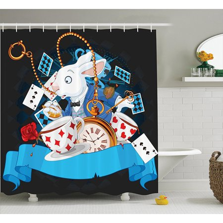 Alice In Wonderland Decorations Shower Curtain Set By , Rabbit Amazing With  Motion Cups Hearts Rose Flower Character Alice Cartoon, Bathroom