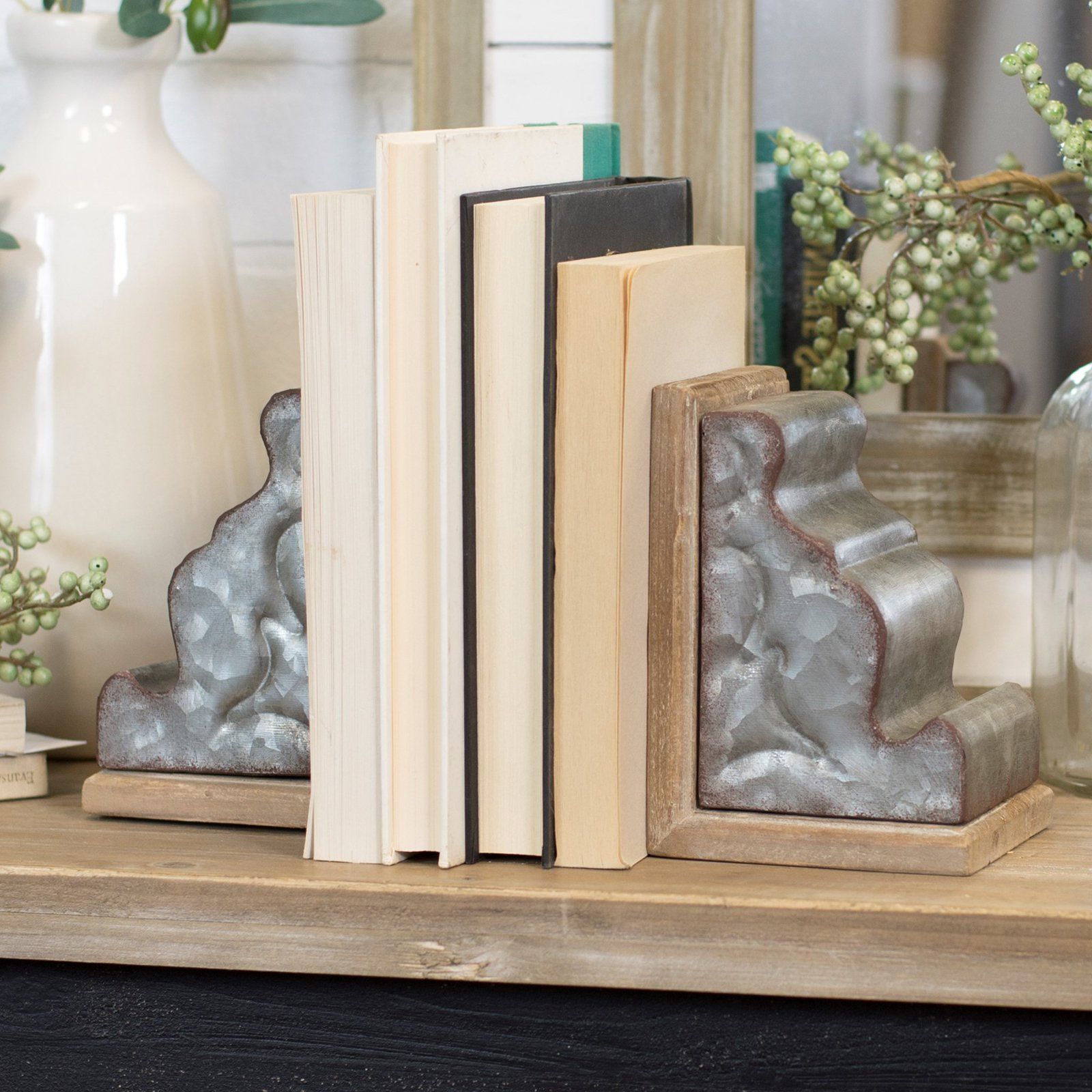 American Mercantile Metal and Wood Bookend Set of 2 by VIP International