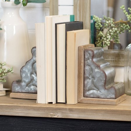American Mercantile Metal and Wood Bookend - Set of 2