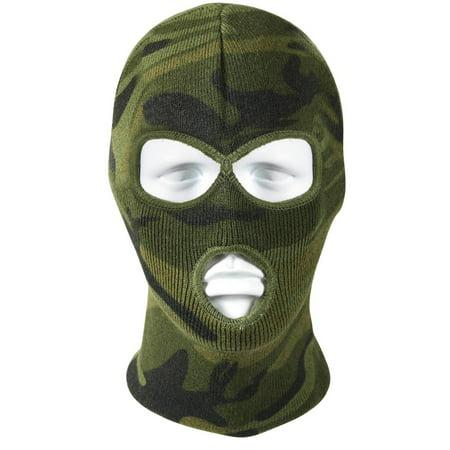 Acrylic Three-Hole Face Mask - Woodland Camo Camo Fleece Face Mask