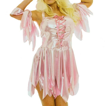 Underwraps Womens Sexy Nymph Fairy Pink Lace Front Costume with Petal Sleeves (Adult, - Adults Fairy Costumes