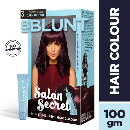 BBLUNT Salon Secret High Shine Creme Hair Colour, Wine Deep Burgundy 4.20, 100g with Shine Tonic, -