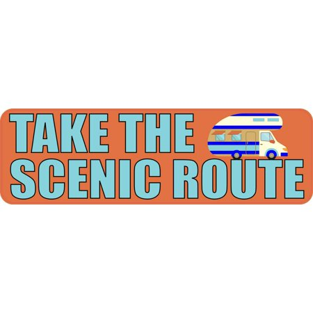 10inx3in take the scenic route travel bumper sticker vinyl decal stickers