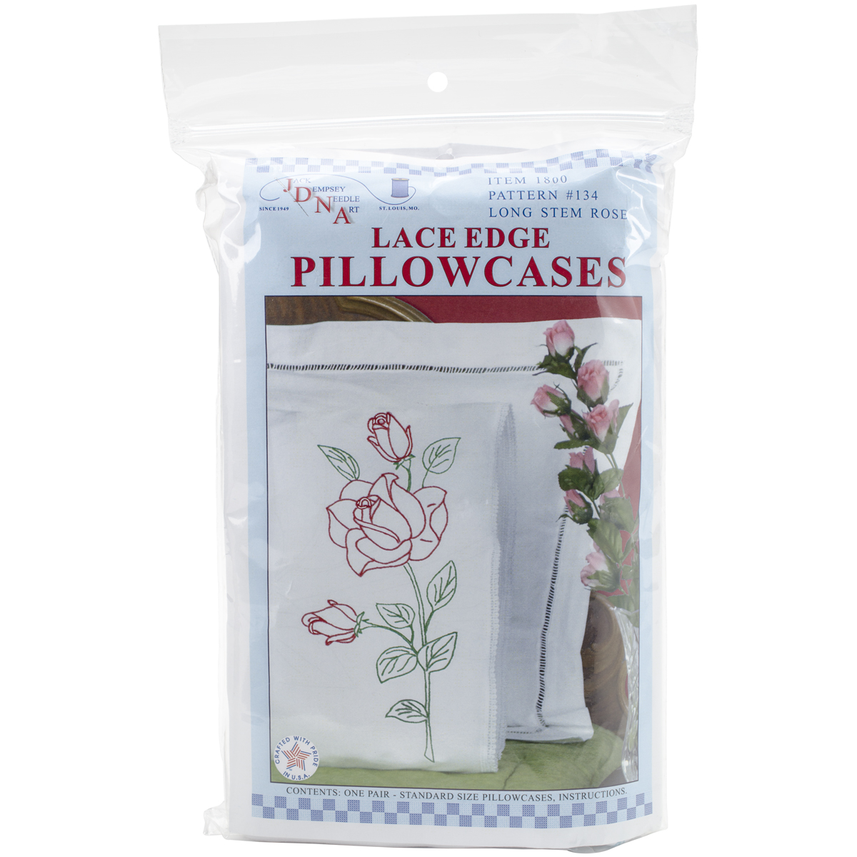 Jack Dempsey Long Stem Rose Stamped Pillowcases With White Lace Edge