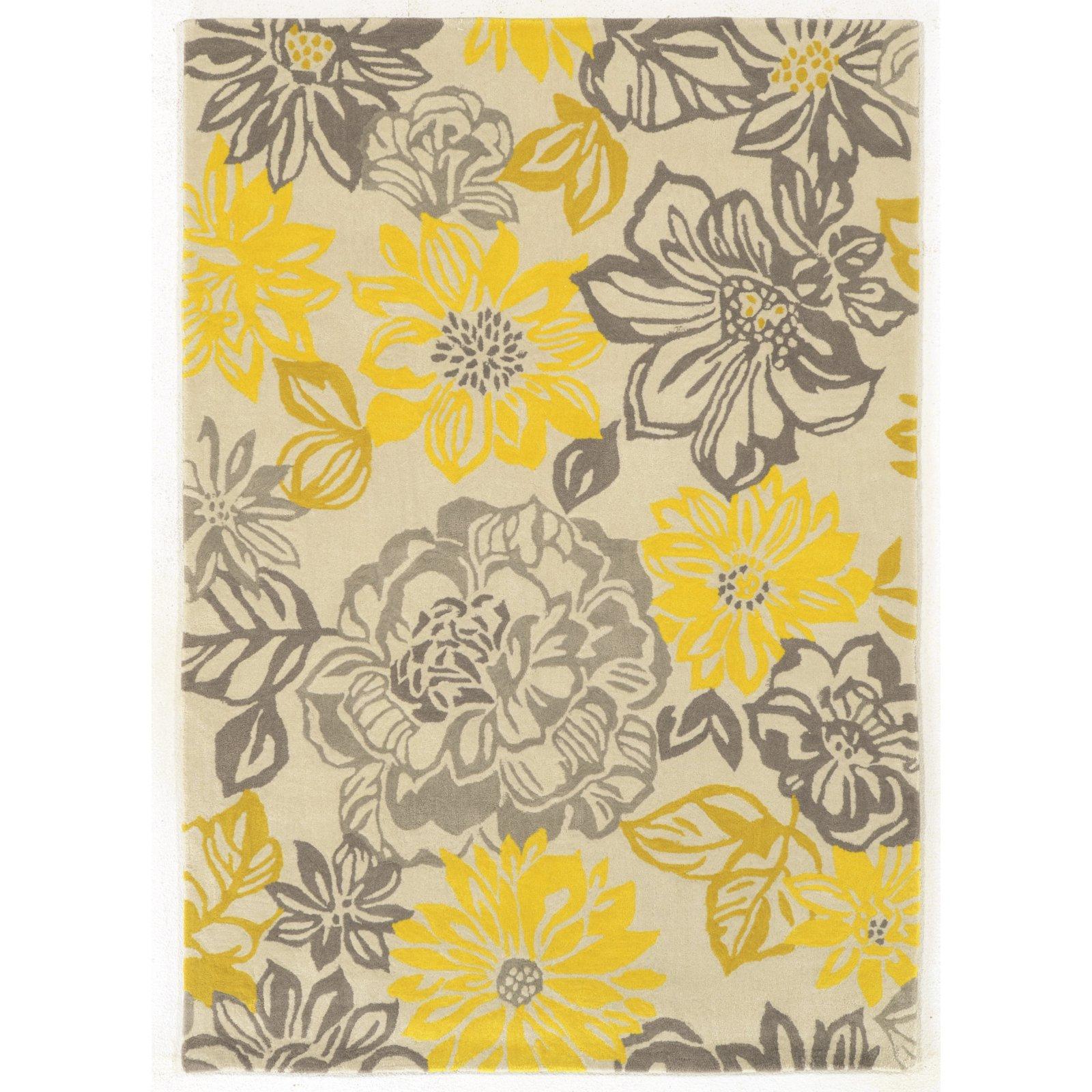 Linon Trio Collection Beige Floral Indoor Area Rug