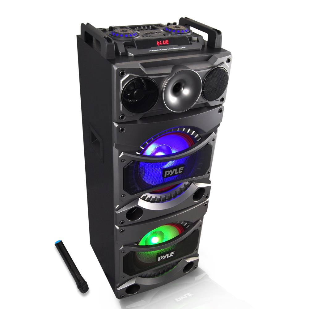 Pyle PSUFM1038BT - Bluetooth PA Loudspeaker Karaoke Entertainment System, Active Powered Speaker, Flashing DJ Party Lights, MP3/USB/SD, FM Radio, Wireless Mic