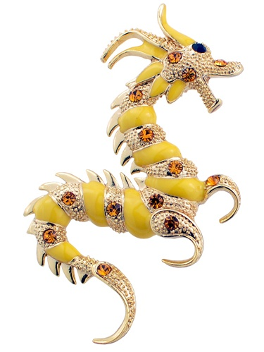 Golden Yellow Dragon Crystal Pin Brooch by