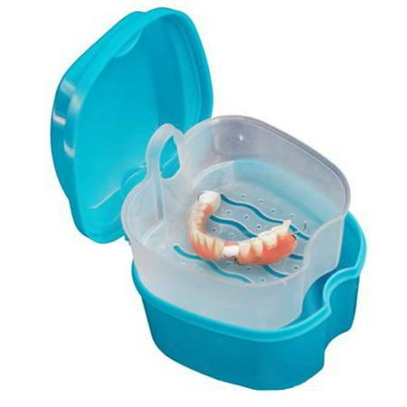 PP Denture Bath Box Case Dental False Teeth Storage Box with Hanging Net Container ()