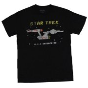 Star Trek Mens T-Shirt - 8-Bit Distressed USS Enterprise Image