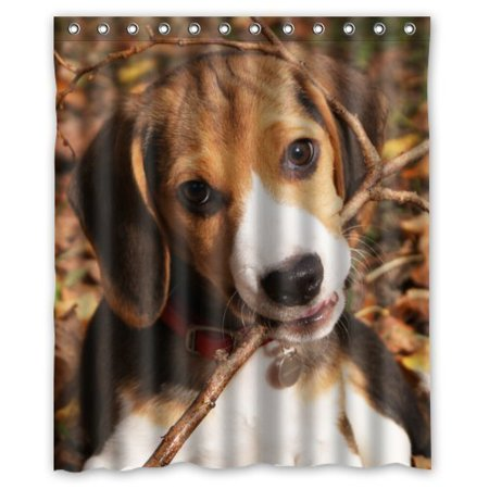 HelloDecor Beagle Puppy Shower Curtain Polyester Fabric Bathroom Decorative Size 60x72 Inches